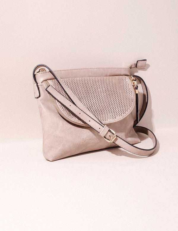 Vegan Leather Crossbody Zara Bag - Stone