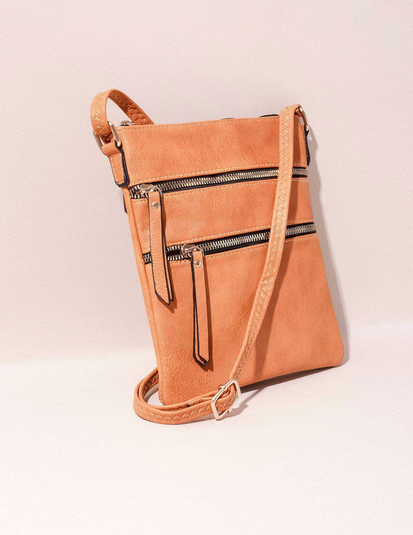 Vegan Leather Urban Crossbody Bag - Mustard