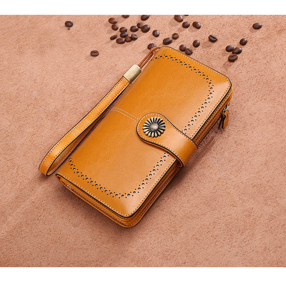 9f4bfdcd50f ... SMILEY SUNSHINE genuine leather womens wallets wristlet long clutch  female wallet big ladies purses& wallets phone