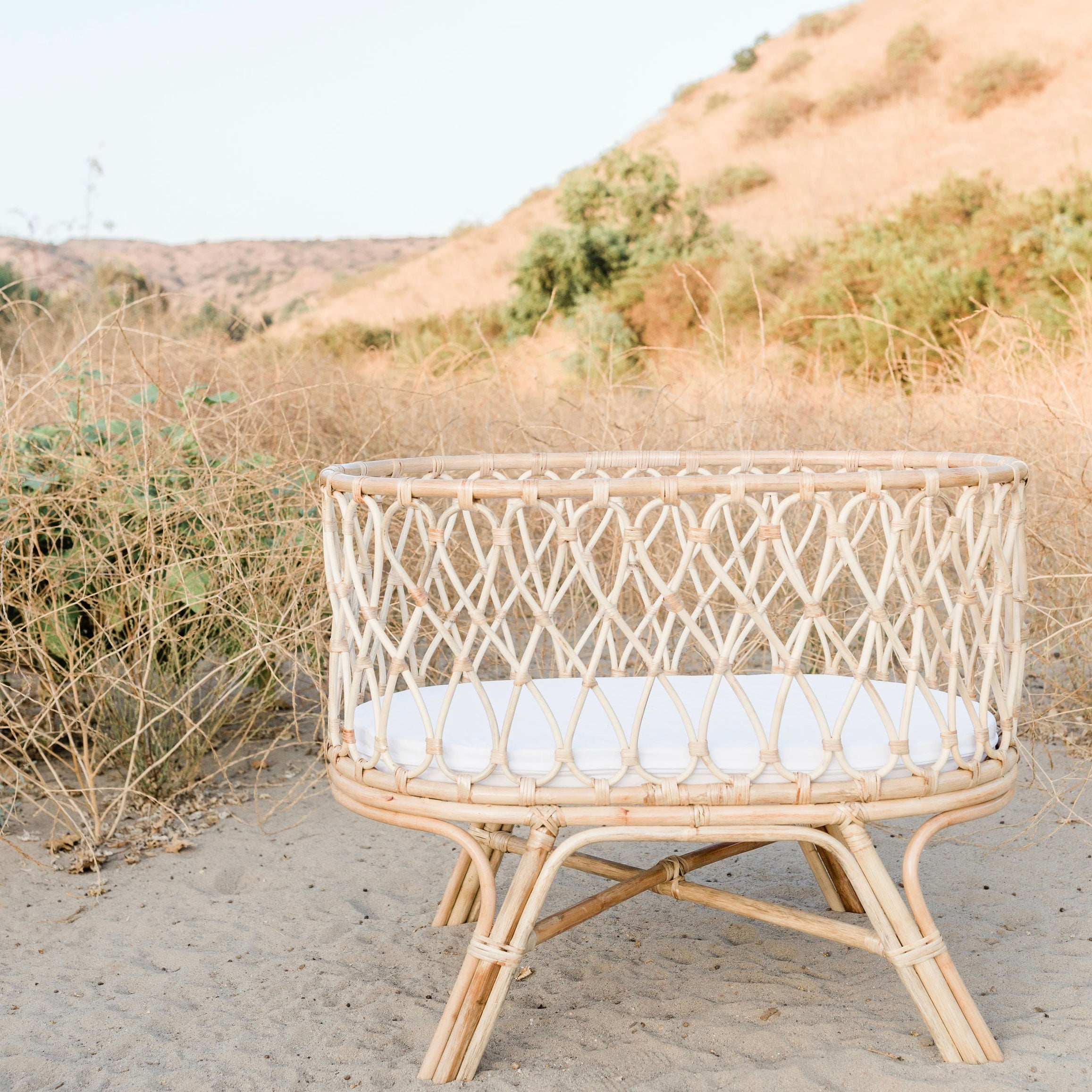Rattan Baby Bassinet - Wildflower