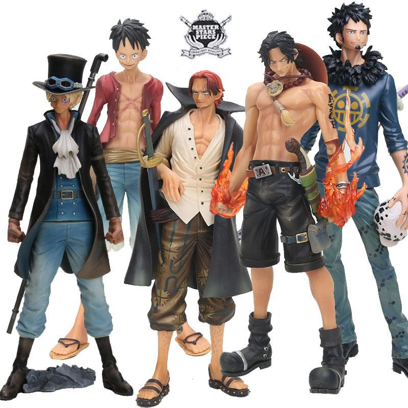 25-27cm Anime One Piece Monkey D Luffy Ace Sabo Shanks Trafalgar Law Figure Action Toys