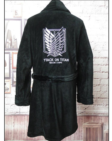 Image of Anime Attack on Titan Flannel Bathrobe Shingeki no Kyojin Cloak Eren Cosplay