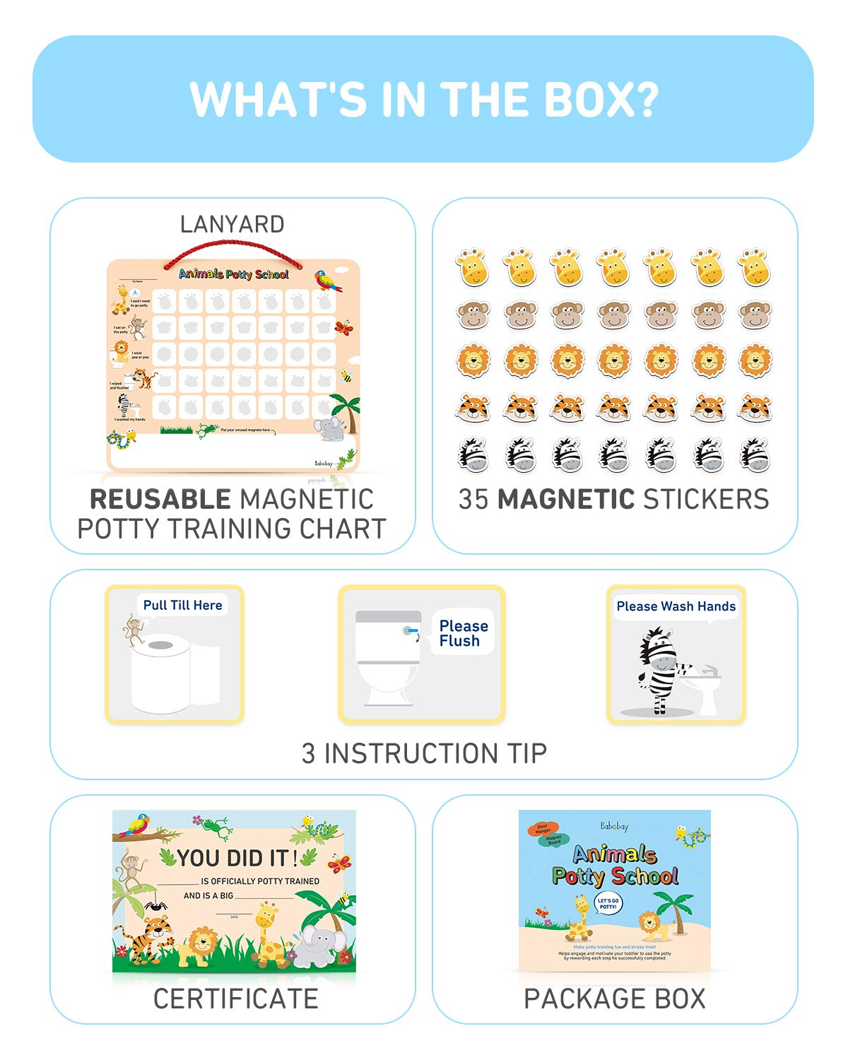 Potty Training Chart for Toddlers - Fun Animal Design