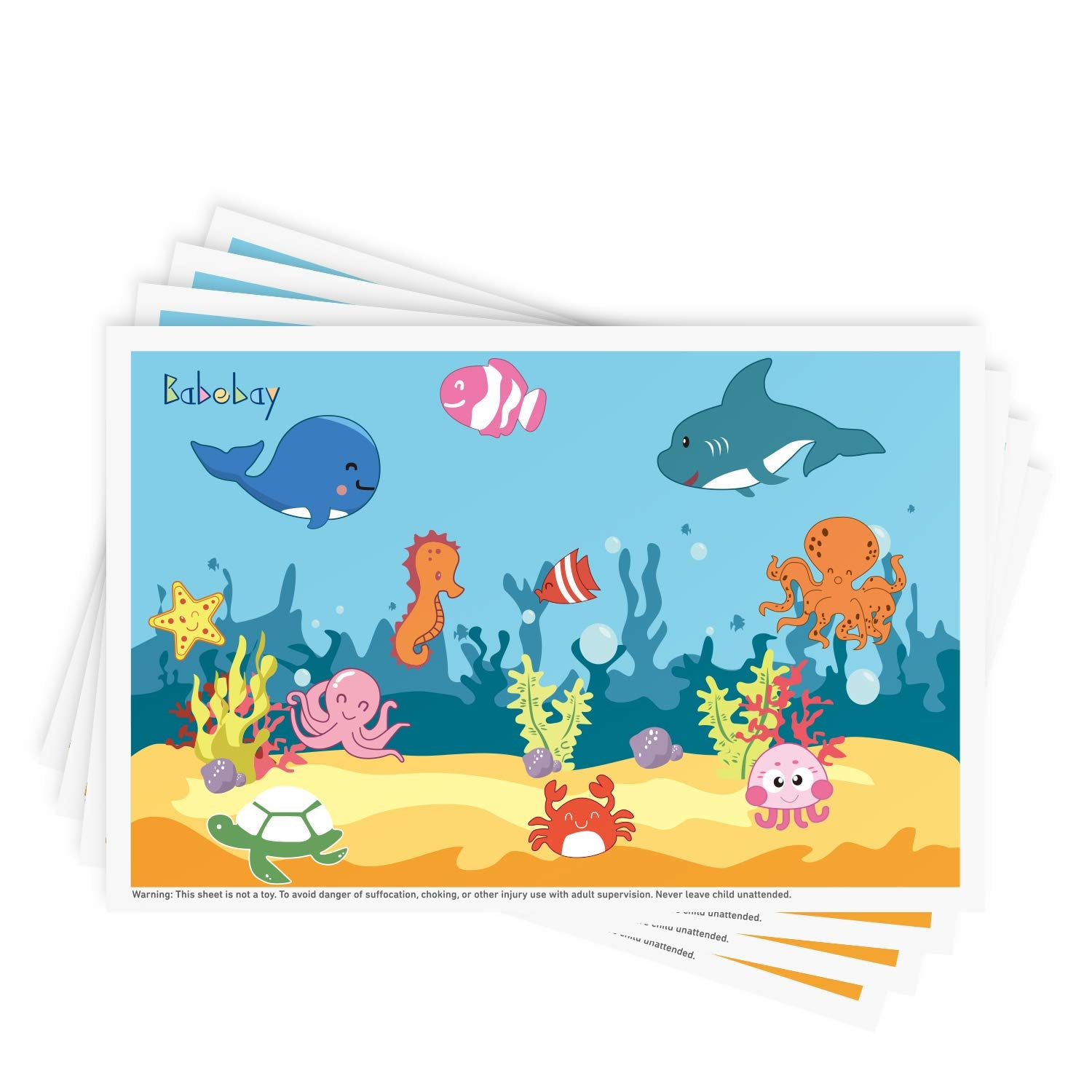 Disposable Stick-on Placemats - Ocean Life - 2Set 80pakcs