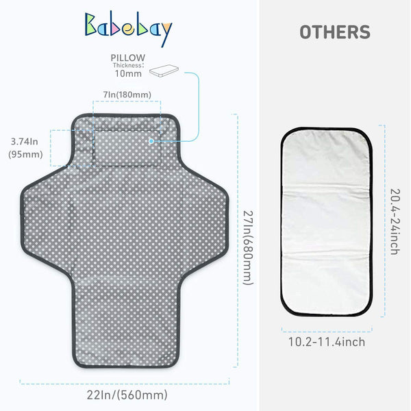 Portable Baby Changing Pad,Waterproof Diaper Changing Pad,Built-in Baby Head Pillow,Baby Diapering Travel Mat Station forToddlers Infants & Newborns