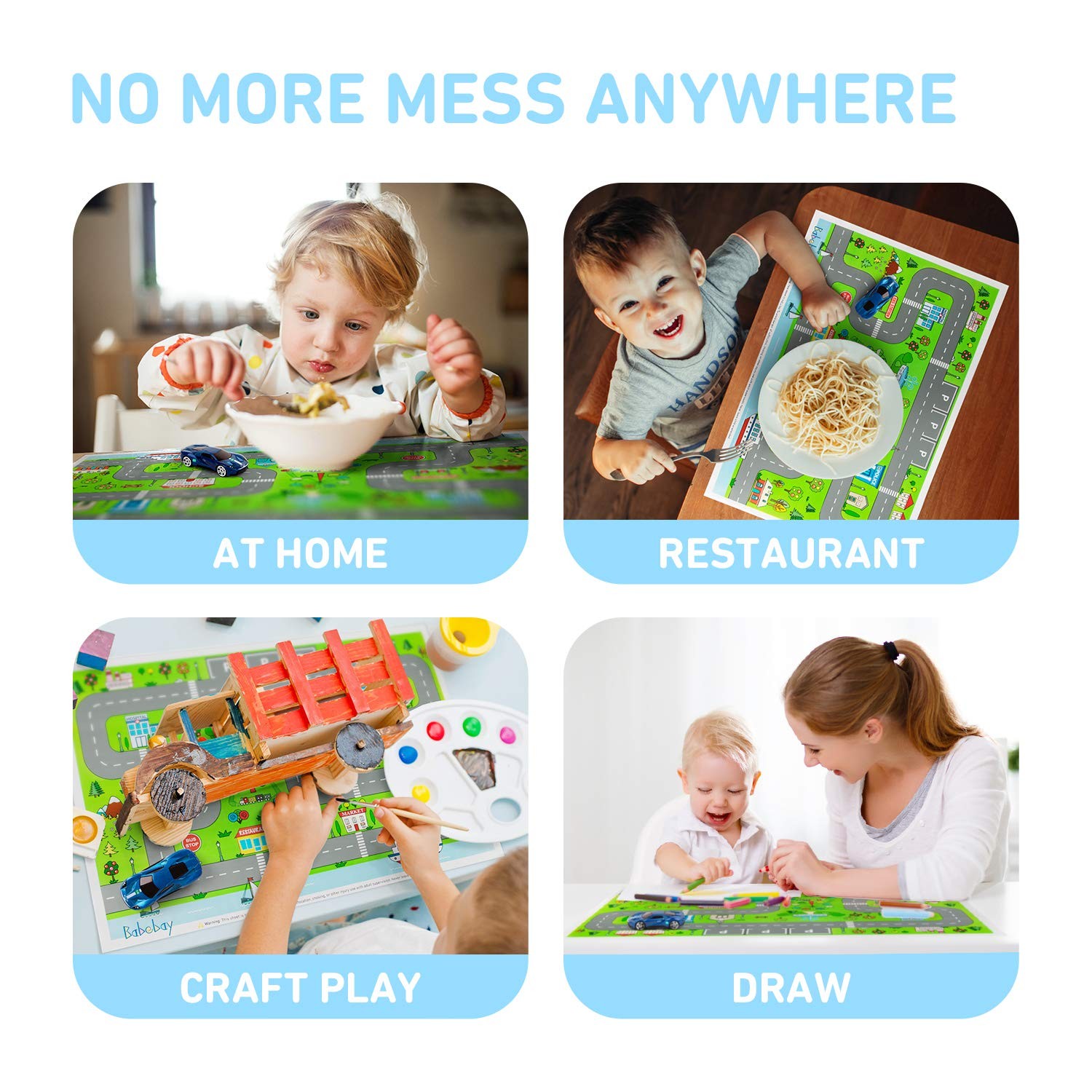 Disposable Stick-on Placemats with Car Toy - 2Set 80pakcs