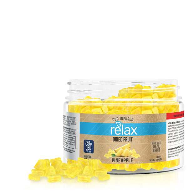 Relax CBD Dried Fruit Pineapples 750 mg Jar