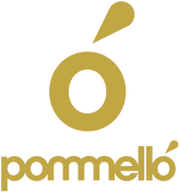 Gold Pommello logo, the makers of quick warm up athletic wear. The logo is an O with a sweat drop like accent above. Under the icon