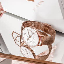 Load image into Gallery viewer, Dorsya | Abeona World Map rose gold watch £99