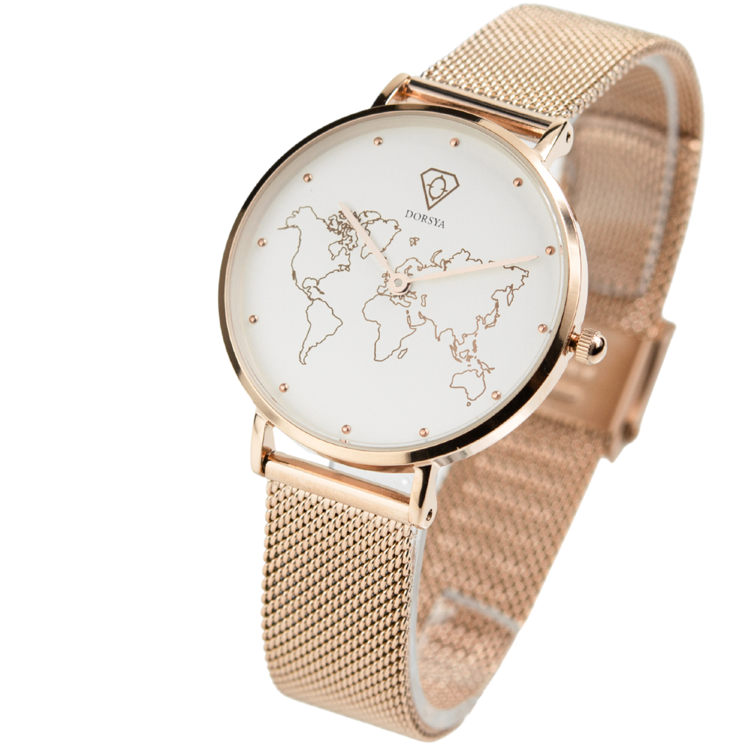 Dorsya | Abeona World Map rose gold watch £99