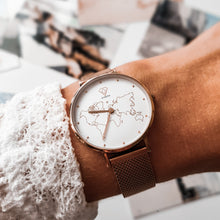 Load image into Gallery viewer, Womens watch with world map dial | rose gold mesh strap - Dorsya