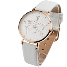 Load image into Gallery viewer, Dorsya | Adiona world map white leather watch