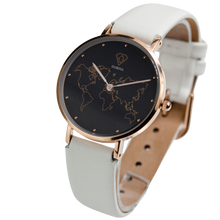 Load image into Gallery viewer, DORSYA | Apollo White Leather World Map Watch
