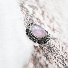 Load image into Gallery viewer, Bloom sterling silver ring, rose quartz gemstone ring, boho ring, women accessory - Dorsya