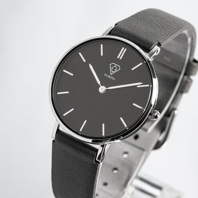 Cronus black dial | grey leather strap | woman watch | Dorsya