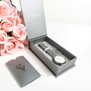 Dorsya | Watch box | Hermera silver mesh minimalistic watch