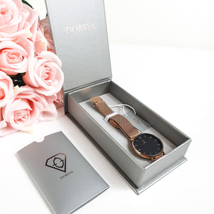 Dorsya | Watch box | Tinia rose gold mesh watch