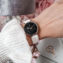 Load image into Gallery viewer, Dorsya Apollo world map watch | white leather watch | Women watch