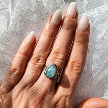 Load image into Gallery viewer, Lana Sterling silver boho ring Larimar ring dorsya