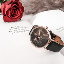 Load image into Gallery viewer, Dorsya Mercury world map watch | black leather watch | Women watch