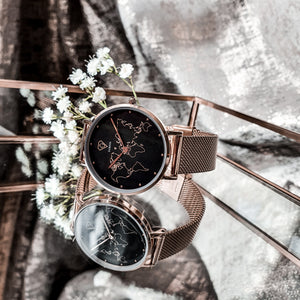 Neptune | Dorsya World Map Dial Women watch | Rose gold watch