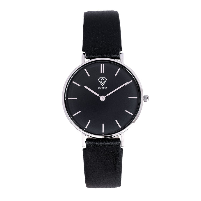 Cronus | black dial | black leather strap | woman watch | Dorsya