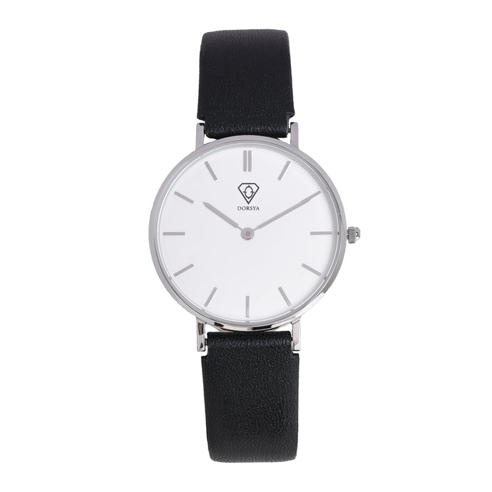 Hermera | white dial | black leather strap | woman watch | Dorsya