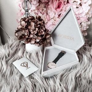 Dorsya | Watch box | Nortia grey leather minimalistic watch