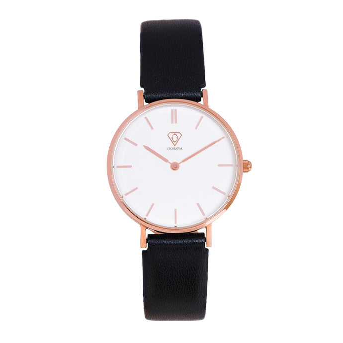 Nortia | white dial | black leather strap | ladies watch | Dorsya