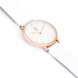 Nortia | white dial | white leather strap | ladies watch | Dorsya