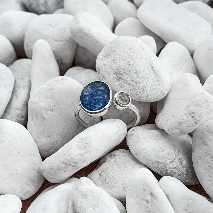 Sterling Silver Blue Quartz and Blue Chalcedony Gemstones adjustable Ring