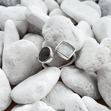 Load image into Gallery viewer, Sterling Silver Chalcedony and Labradorite Adjustable Ring