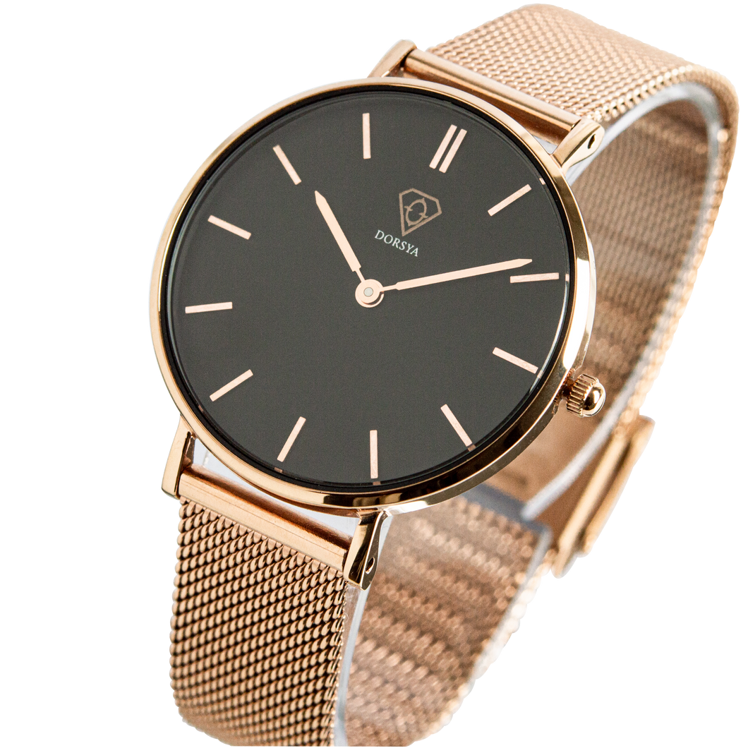 Dorsya | Tinia black rose gold mesh minimal watch £89