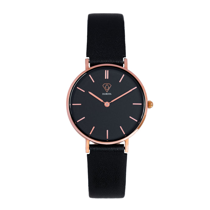 Tinia | black dial | black leather strap | woman watch | Dorsya