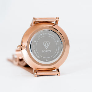 Womens watch | rose gold stainless steel watch case - Dorsya