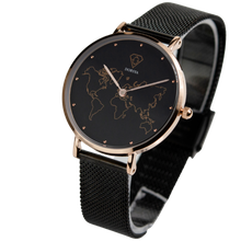 Load image into Gallery viewer, Dorsya| Fortuna world map black mesh watch