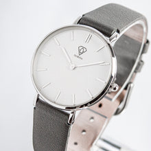Load image into Gallery viewer, Hermera | White dial | grey leather strap | woman watch | Dorsya