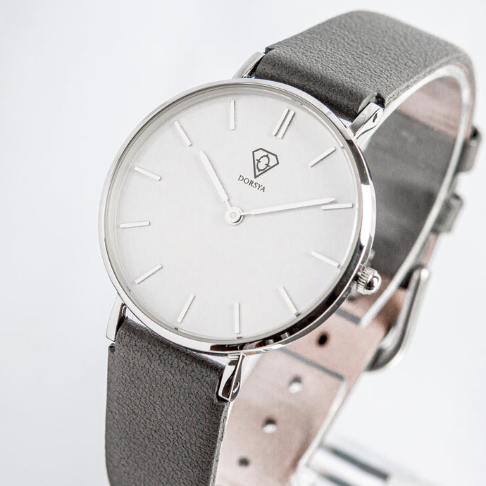 Hermera | White dial | grey leather strap | woman watch | Dorsya