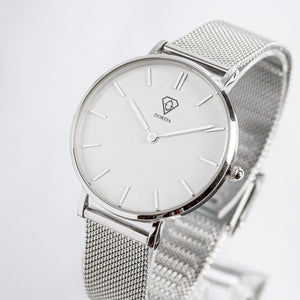 Hermera | white dial | silver mesh strap | ladies watch | Dorsya