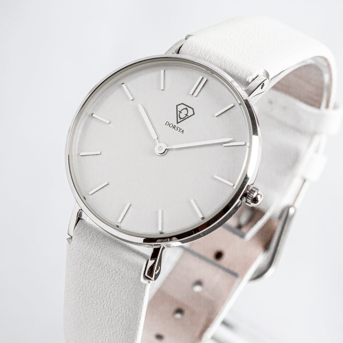 Hermera | white dial | white leather strap | ladies watch | Dorsya