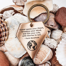Load image into Gallery viewer, Keychain | Travel accessory | Keyring | Dorsya | quote keyring - open mind and heart