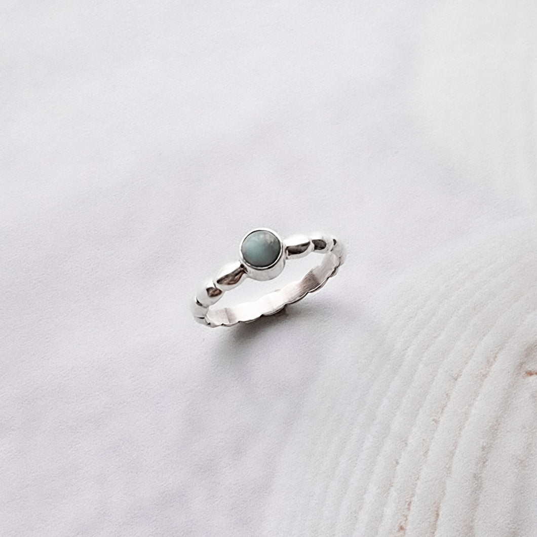 Laguna Silver Boho Ring with Larimar Stone