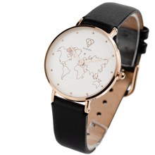 Load image into Gallery viewer, Dorsya | Meili  world map black leather watch