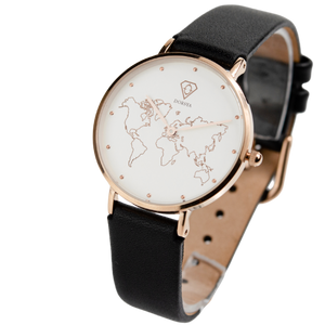 Dorsya | Meili  world map black leather watch