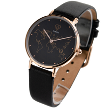 Load image into Gallery viewer, DORSYA | Mercury Black Leather World Map Watch