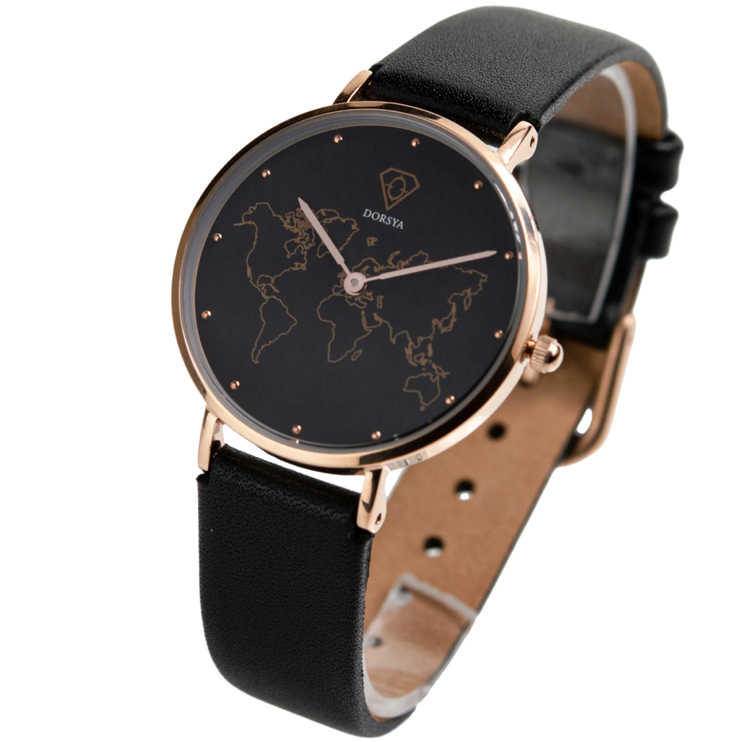 DORSYA | Mercury Black Leather World Map Watch