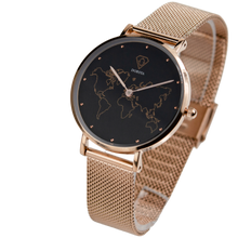 Load image into Gallery viewer, Neptune | Dorsya World Map Dial Women watch | Rose gold watch