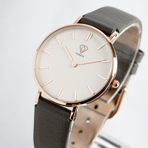 Nortia | White dial | grey leather strap | woman watch | Dorsya
