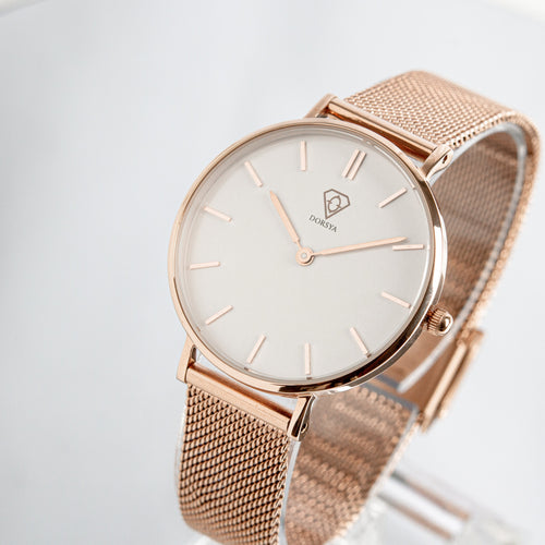 Nortia | White dial | rose gold mesh strap | ladies watch | Dorsya