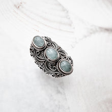 Load image into Gallery viewer, Oceano sterling silver ring, aquamarin gemstone ring, boho ring, women accessory - Dorsya